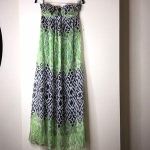 Strapless Maxi Dress (Green, Black & White Print)